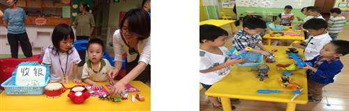 家长积极参与活动的准备工作:搬桌子,找护栏,充气球,布置店铺等.